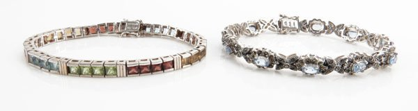 Two (2) Bejeweled Sterling Silver Bracelets. Stamped.