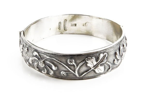 Sterling Silver Floral Repousse Bracelet. Stamped and