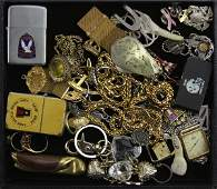 Tray Lot of Miscellaneous Jewelry Pins Lighters Watc