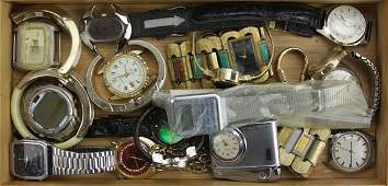 Tray Lot of Miscellaneous Watches Some Amitron Rolex