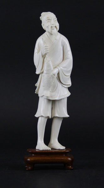 Chinese Carved Ivory Figure of an Elder Fisherman on