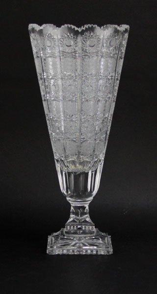 Large Brilliant Cut Crystal Pedestal Vase. Good