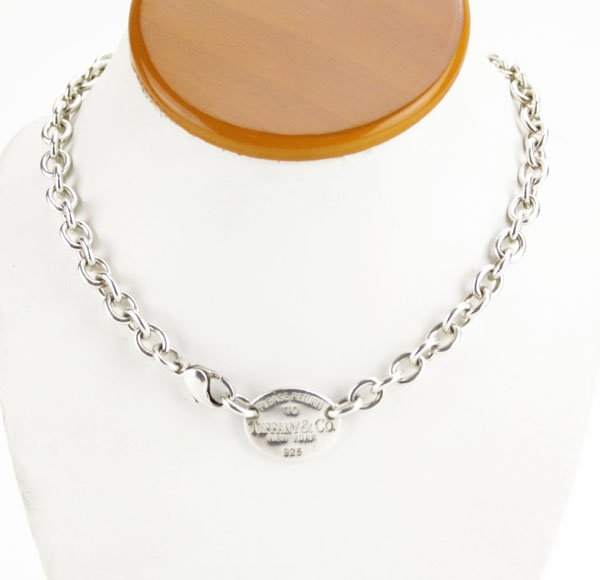 Sterling Choker Necklace with Tiffany and Co Name Tag.