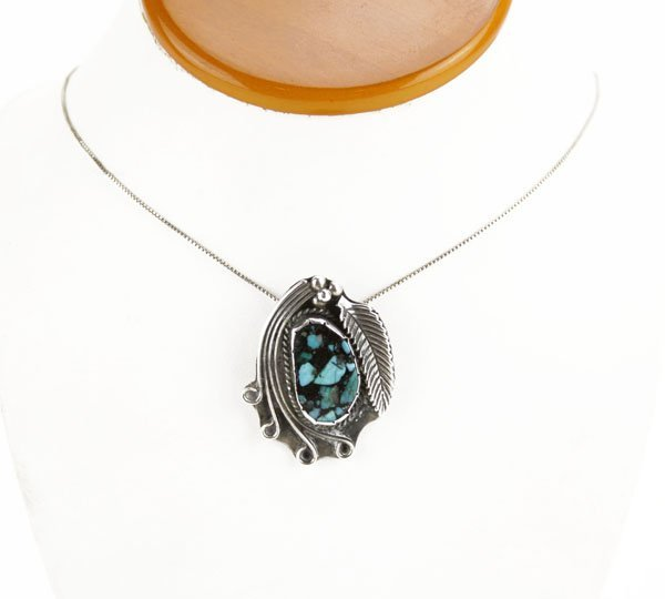 Sterling Silver Turquoise Pendant Necklace. Some Scrat