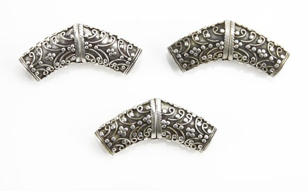 Three (3) Silver Repousse Handkerchief/Scarf Holders. S