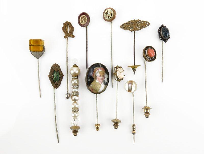 Collection of Twelve (12) Vintage to Antique Stickpins.