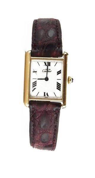Vintage Cartier Replica with Leather Band. Needs Batter