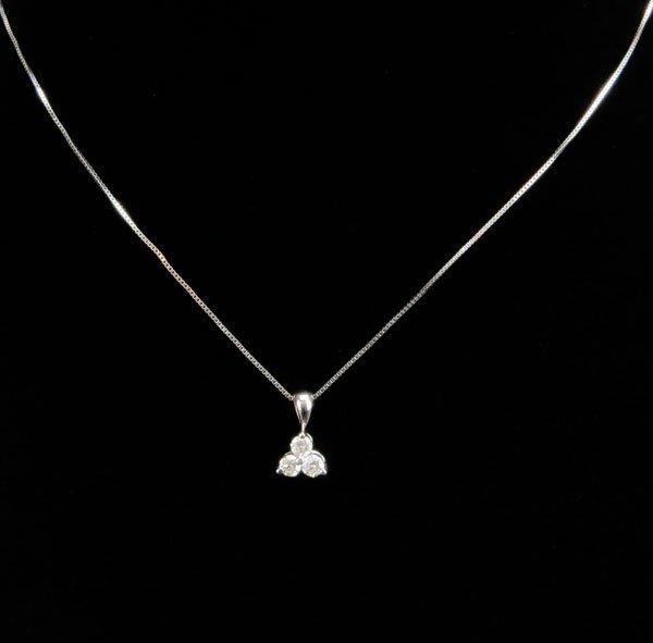 14 Karat White Gold Ladies Necklace with 3 Diamond Pend