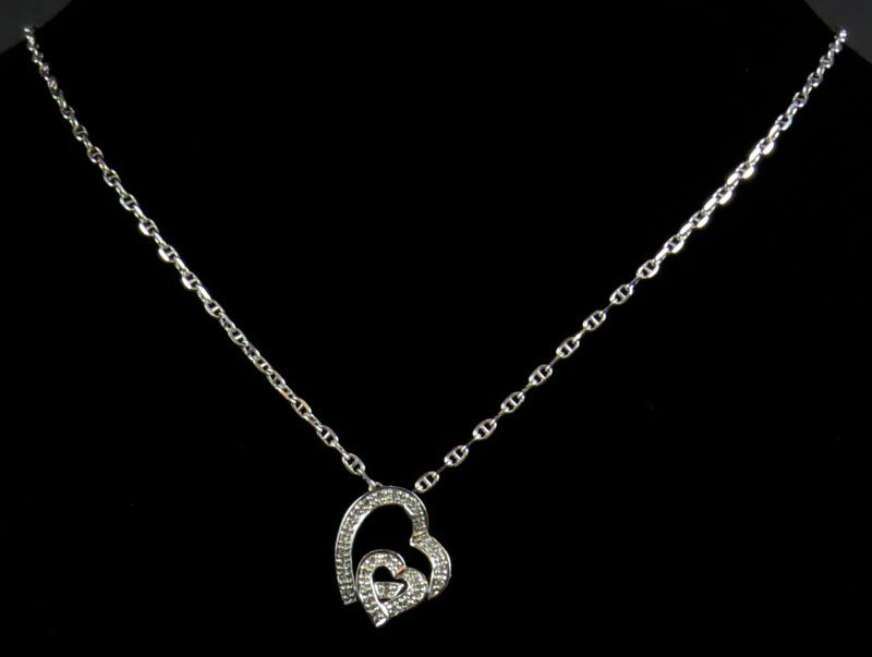 14 Karat White Gold and Diamond Heart Pendant and Neckl