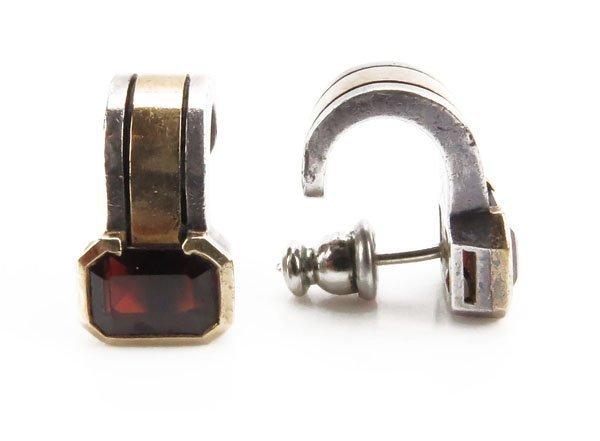 Vintage Cartier 18 Karat Sterling Silver and Garnet Ear