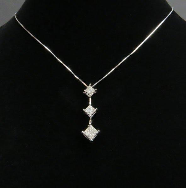 14 Karat White Gold Necklace and 3 Diamond Drop Pendant