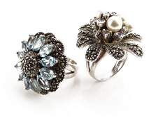 Gorgeous Sterling Silver Marcasite and Aquamarine Ring
