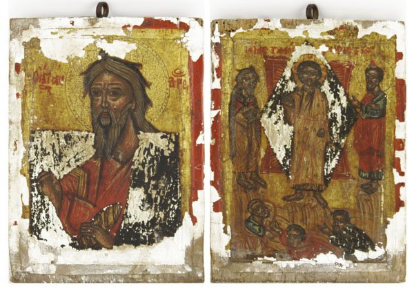 Antique Handpainted Greek Orthodox Double Sided