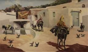 Vintage Old Mediterranean Orientalist Painting Signed