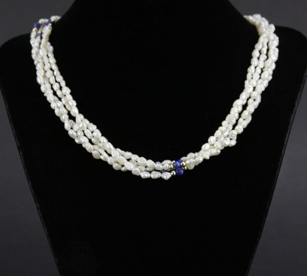 Vintage Double Stranded Freshwater Pearl Necklace with