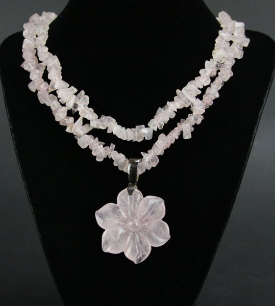 Rose Quartz Beaded Necklace with Sterling Silver Loop