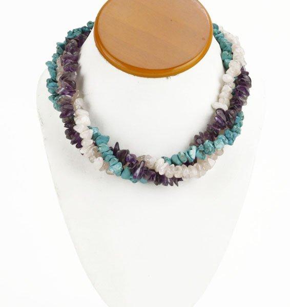 Vintage Turquoise, Rose Quartz, and Amethyst 3 Strand