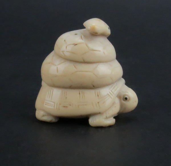 Oriental Carved Ivory Snake and Turtle Netsuke