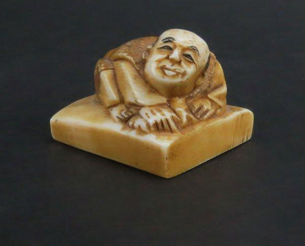 Japanese Carved Ivory Polychrome Netsuke Figurine of a