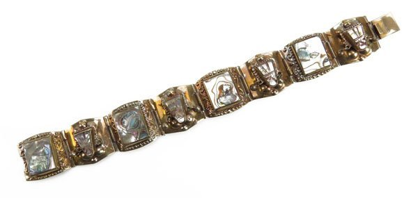 Sterling Silver Bracelet with Abalone Inlay. Stamped