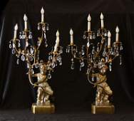 Pair of Mid Century Italian Carved Wooden Putty Lamps