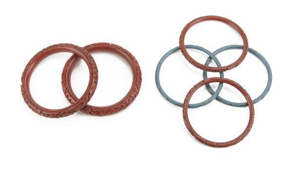Lot of Six (6) Vintage Cinnabar Bracelets. Good Conditi