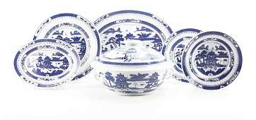 Twenty-One (21) Pc Chinese Blue and White Partial Dinne