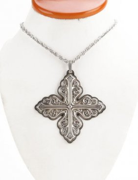 Sterling Silver Reed And Barton Christmas Cross Pendant