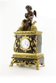 19th Century Gilt Bronze Mounted Figural Clock. Metal