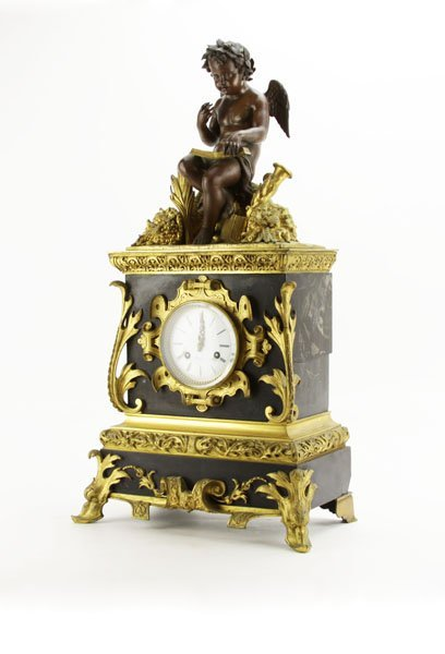 19th Century Gilt Bronze Mounted Figural Clock. Metal
