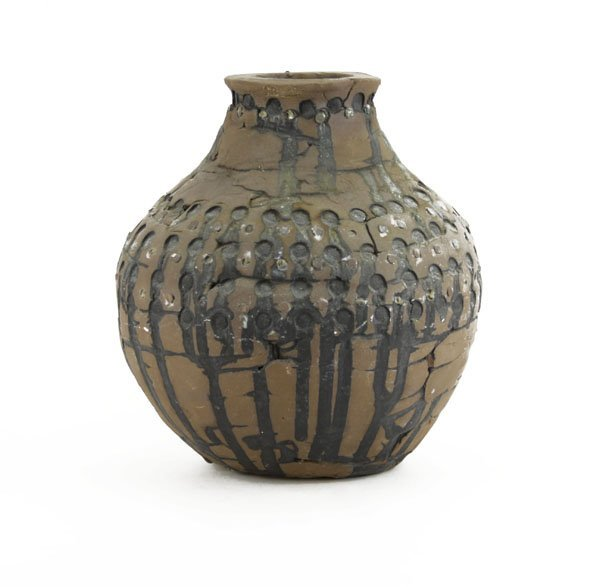 Heavy Clay Decorative Pottery Vase. Normal Wear to