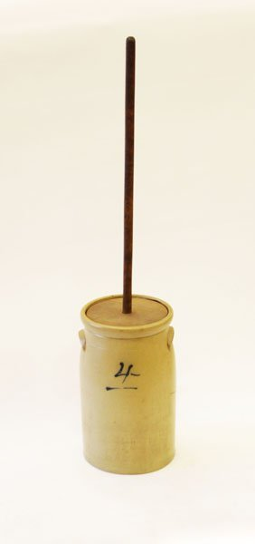 Antique 4 Gallon Butter Churn With Stick. Hairline