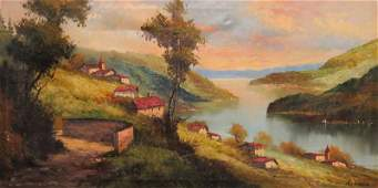 Large Italian School Over the Couch Oil on Canvas Land
