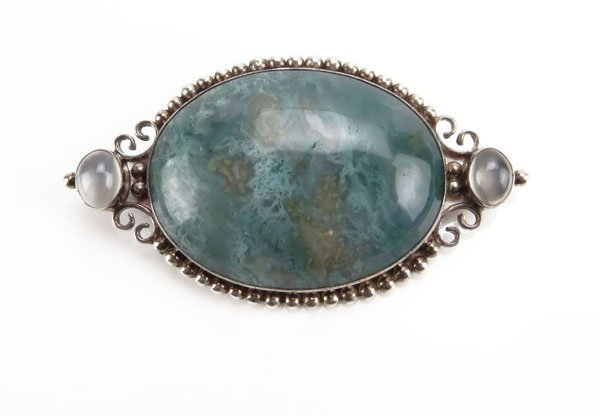 Sterling Silver and Gemstone Pin/Pendant. Stamped on