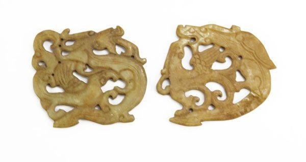 Two (2) Chinese Carved Hardstone Plaque Sculptures.