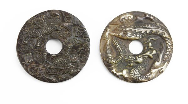 Two (2) Chinese Carved Ornate Hardstone Disks. Near