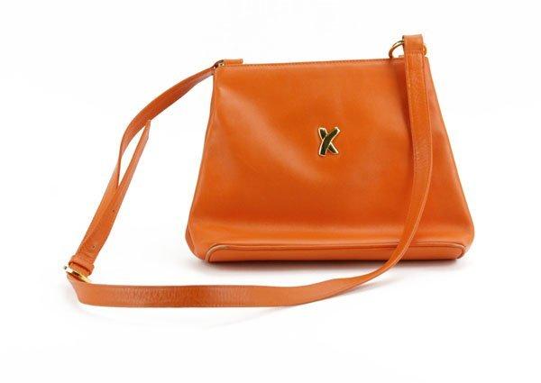Paloma Picasso Orange Leather Handbag. Name Tag on