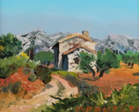 """20th Century French School Oil On Canvas """"cabin On"""