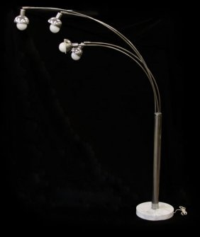 Mid Century Modern Chrome Arc Floor Lamp. 4 Light Globe