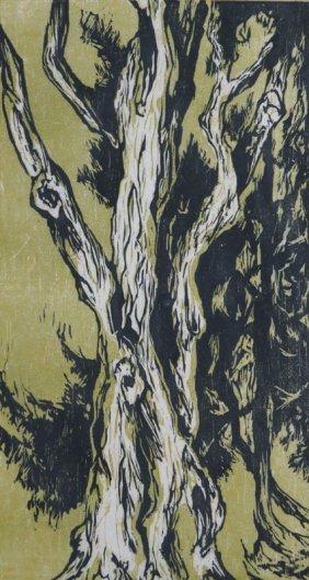 "Dorothy Mandel Woodcut ""strange Tree The Second"" Signed"