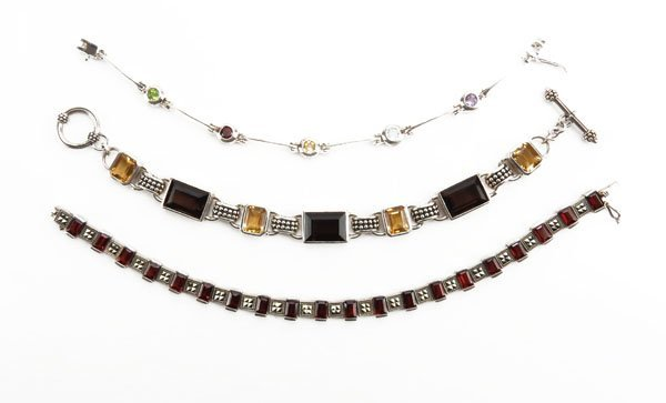 Three (3) Sterling Silver Gemstone Bracelets. Stamped.