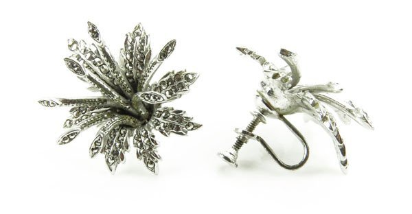Vintage Sterling Silver and Marcasite Flower Shaped Ear
