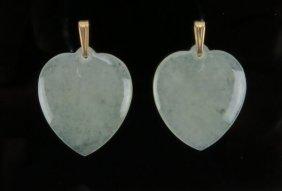 Ladies Jade Heart Shaped Earrings With 14 Karat Loop. G