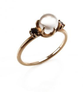 14 Karat Yellow Gold Moonstone And Ruby Ring. Unsigned,