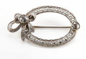 Antique 14 Karat White Gold And Filigree Diamond Pin Br