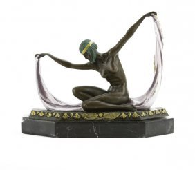 Signed C. Mirval Egyptian Revival Bronze Nude Sculpture