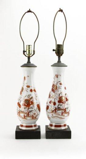 Pair Of Japanese Kutani Vases Mounted Into Lamps. Needs