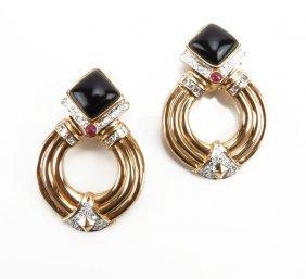 Ladies 14 Karat Yellow Gold Onyx Ruby And Diamond Earri