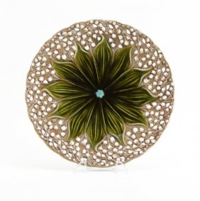 Majolica Handpainted Reticulated Charger. Marked Vbs 1