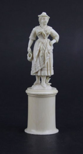 Antique Continental Ivory Figurine Of A Posing Beauty.